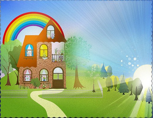 Home With Rainbow Overhead